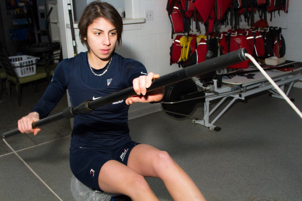 Arezou Motamedi trains at the USA Canoe/Kayak high-performance center in Oklahoma City. Photo by J. Christopher Little.