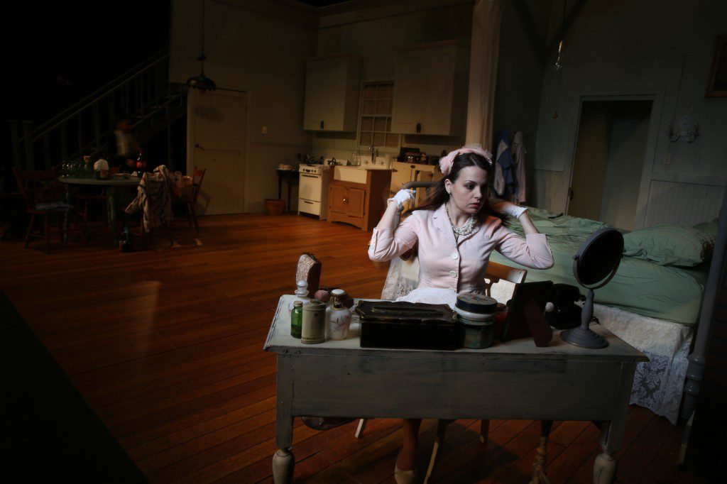 Courtneay Sanders (shown on set) played Blanche DuBois in The Playhouse Tulsa's February production of A Streetcar Named Desire. Photo by Brandon Scott