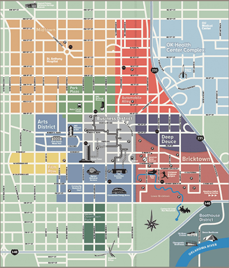 Downtown Oklahoma City's many districts are color-coded in this map. Rendering courtesy Downtown Oklahoma City, Inc.