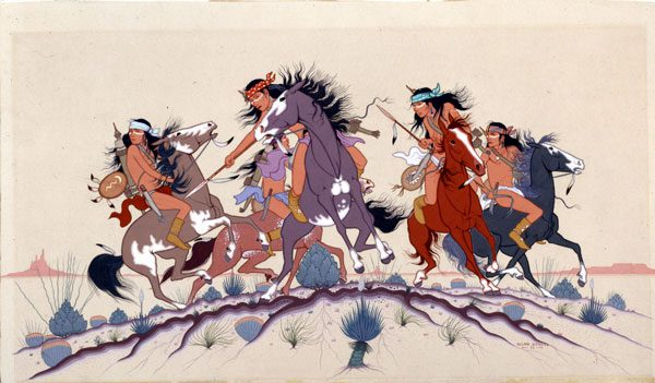 """""""Fresh Trail – Apache War Party,"""" by Allan Houser (Apache, 1914-1994), 1952. Image courtesy Philbrook Museum of Art."""