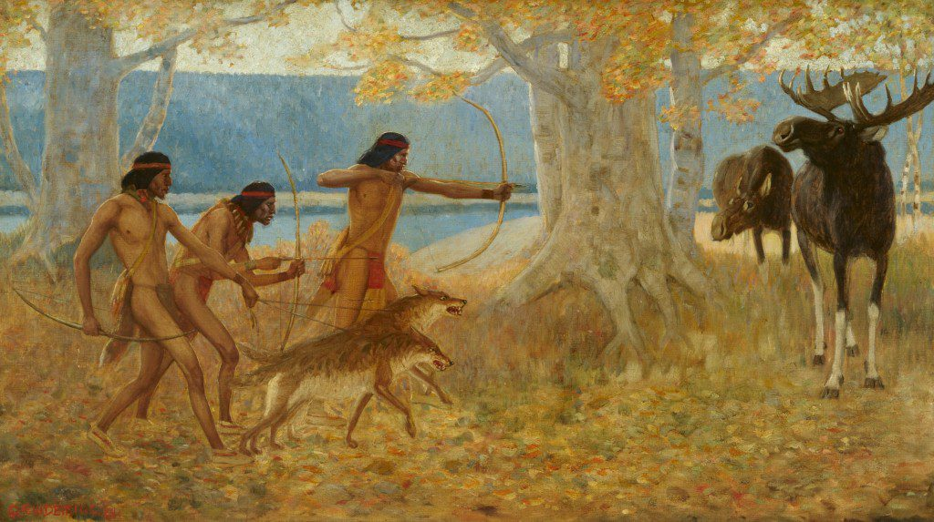 """""""Moose Hunt"""" by Edwin Willard Deming. Image courtesy Gilcrease Museum."""