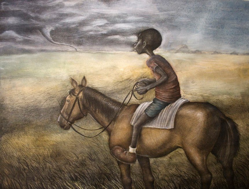 """""""A Storm on the Horizon"""" by Elliott Robbins, one of the artists exhibiting in Living Arts of Tulsa's show """"Noir."""""""