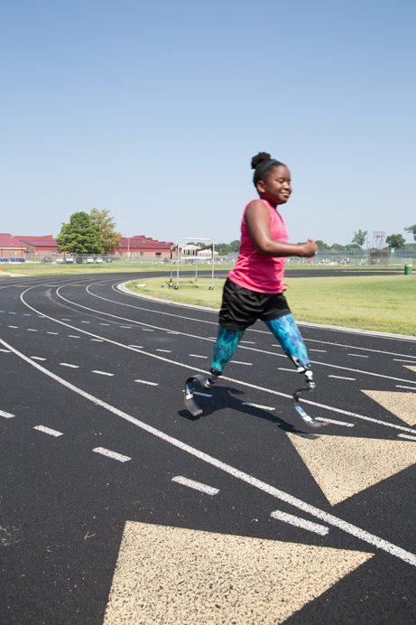 Ten-year-old Hannah Hewett, who hails from Tahlequah, is a national championship sprinter. Photo by Brandon Scott.