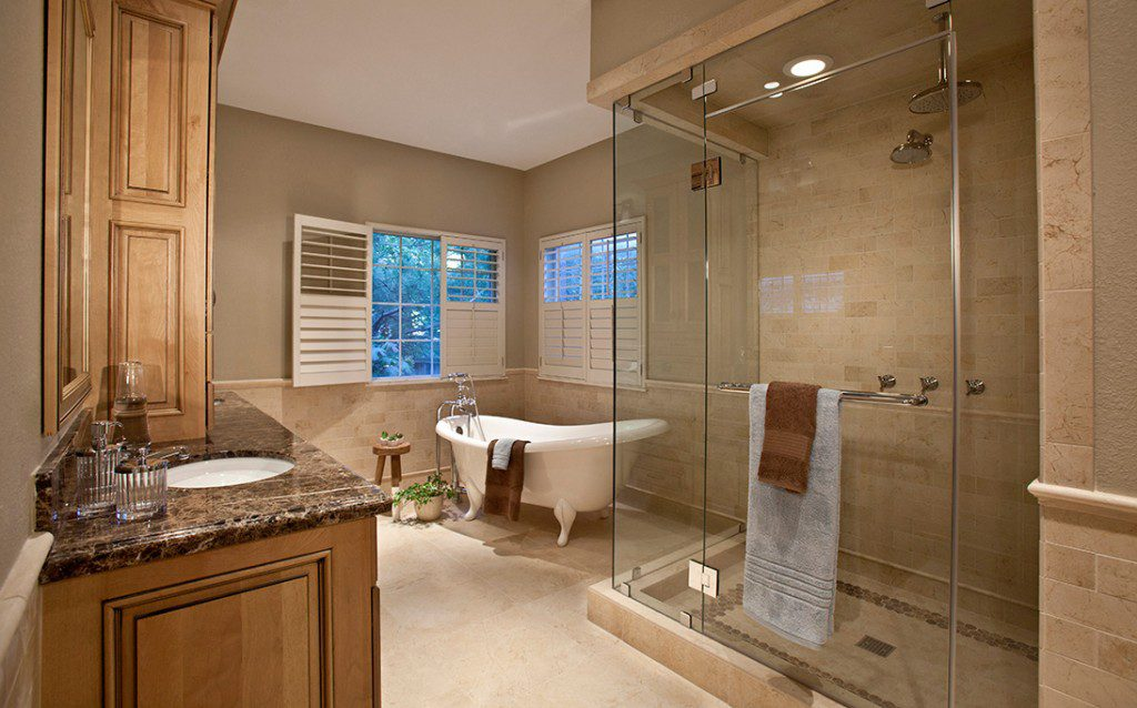 The master bath of this renovated home was designed to evoke the feel of a high-end spa. Photo by Scott Miller.