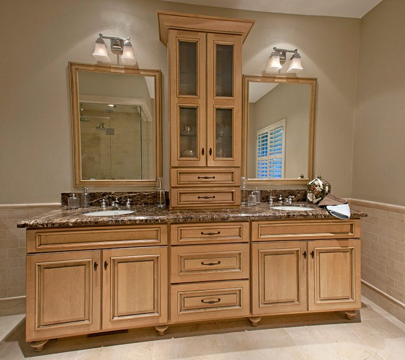 A vanity made from white birch was fashioned by Dakota Custom Cabinetry. Photo by Scott Miller.