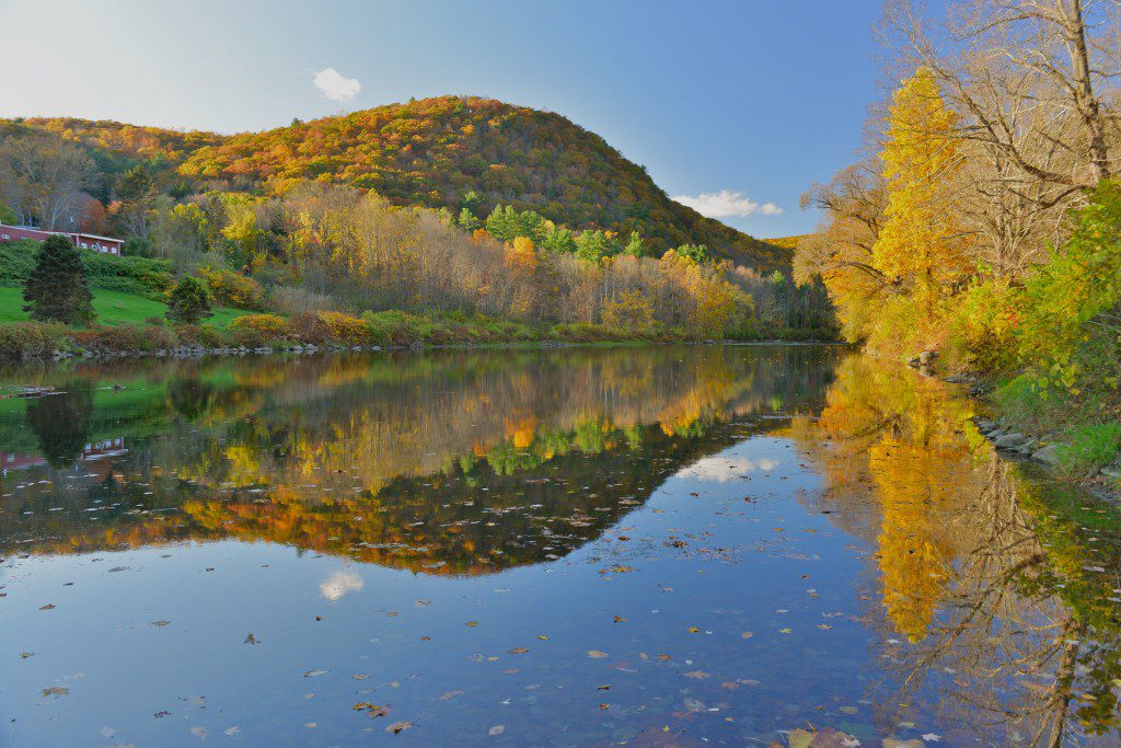 Autumn reflections in the Housatonic River near Cornwall, Conn.