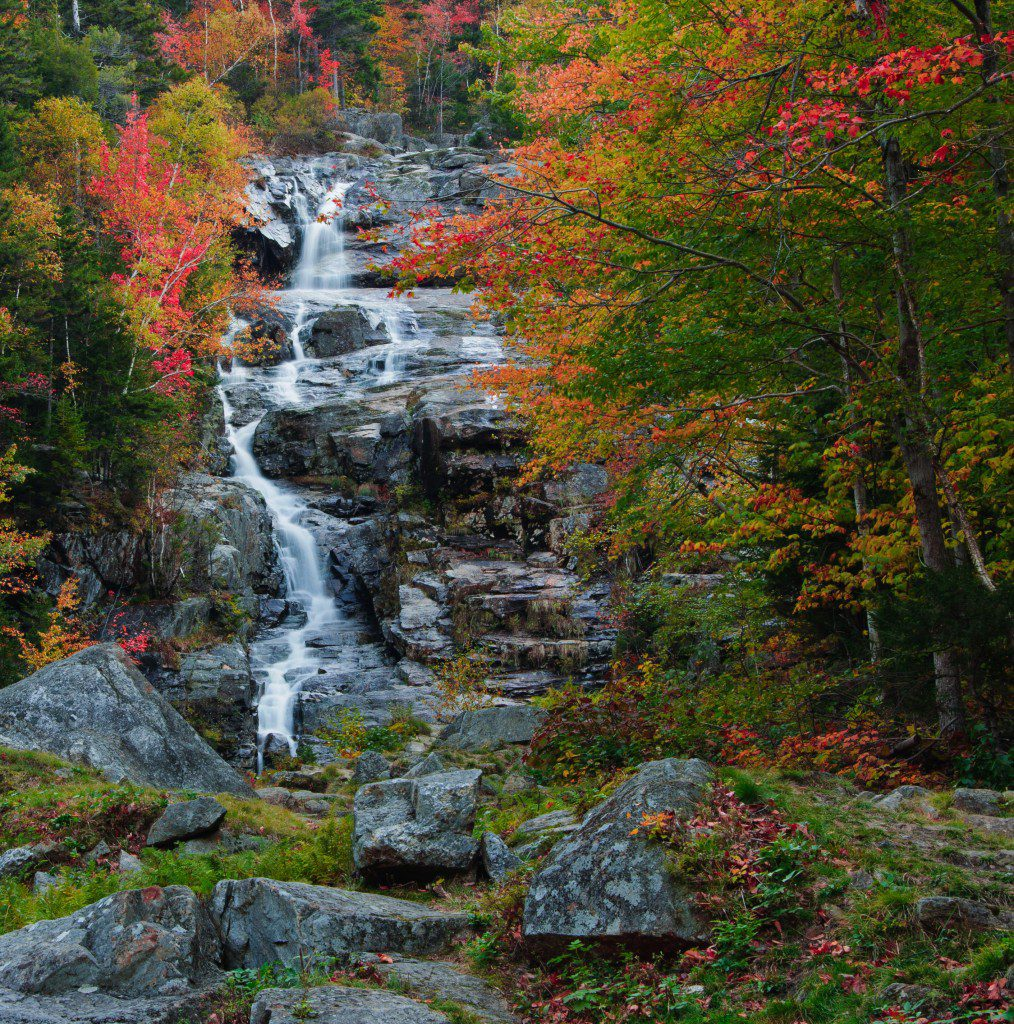 Silver Cascade falls in new hampshire's White Mountains.