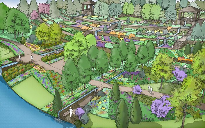 A rendering of the A.R. and Marylouise Tandy Floral Terraces. Image courtesy Tulsa Botanic Garden.