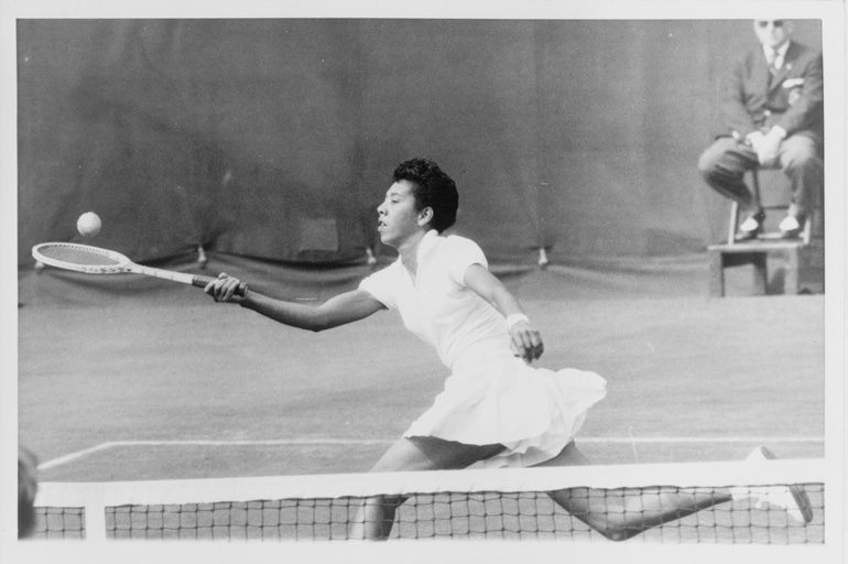 Althea Gibson shattered racial barriers in tennis and golf. She won both the u.s. open and Wimbledon in 1957 and 1958. In 1964, she became the first african-american to join the Ladies Professional Golf Association. Photo courtesy Library of Congress, prints and photographs division, NYWT&S Collection.