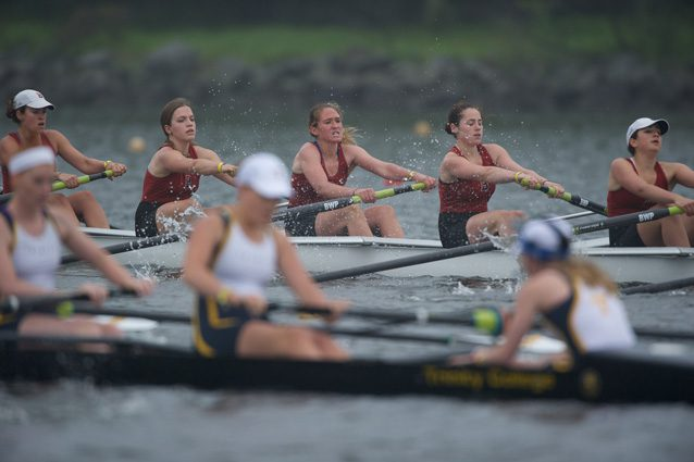 The Bates College Team (rear) competes in the NCAA women's rowing championships, 2012. Photos by Steve Johnson/Maac.