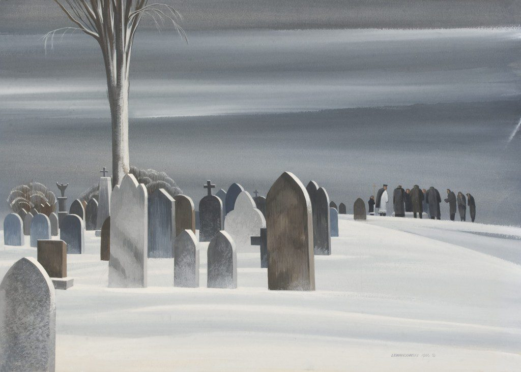 """Cemetery,"" 1946, by Edmund Lewandowski. Image courtesy Fred Jones Jr. Museum of Art."