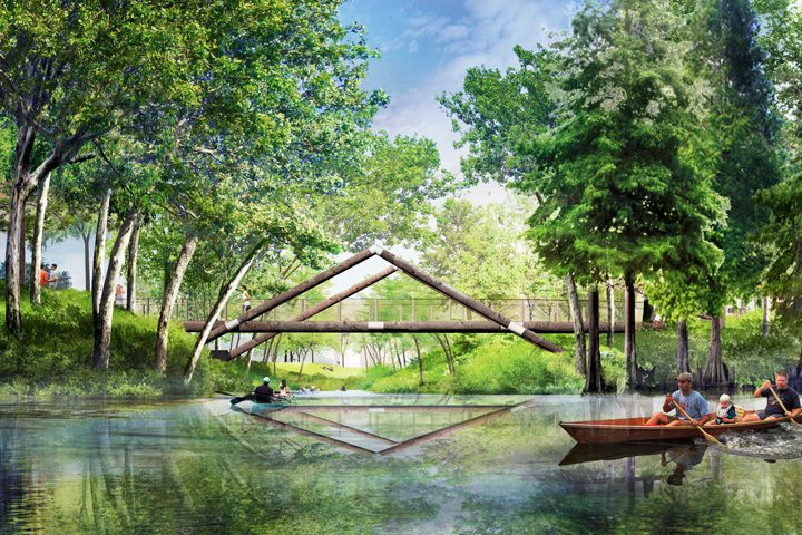 Renderings of the future riverfront park reveal the vision of a gathering place as a nature-rich environment for activities and community. Image courtesy A Gathering Place.