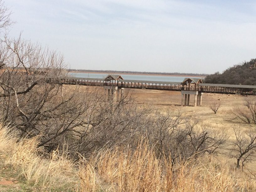 Lake Altus-Lugert in southwestern Oklahoma has been hit hard by the ongoing drought. Lake levels have dropped dramatically, affecting area farming and agriculture businesses. Photo by and courtesy Jim Reese.