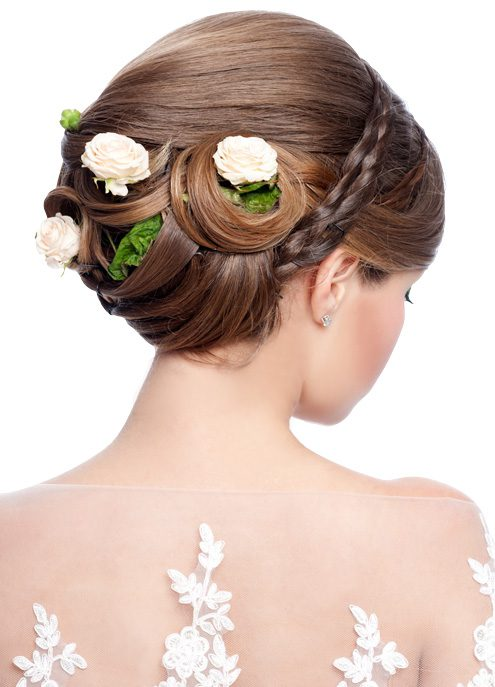 Hair: braids and flowers