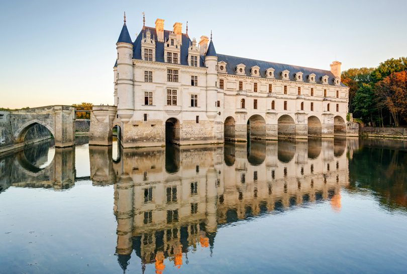Chateau de Chenonceau was built on a bridge to be reflected in the River Cher.