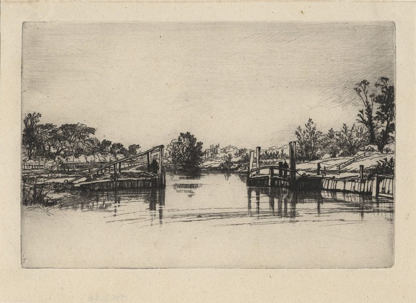 Egham Lock, 1859, Etching and drypoint, by Francis Seymour Haden. Courtesy of Philbrook.