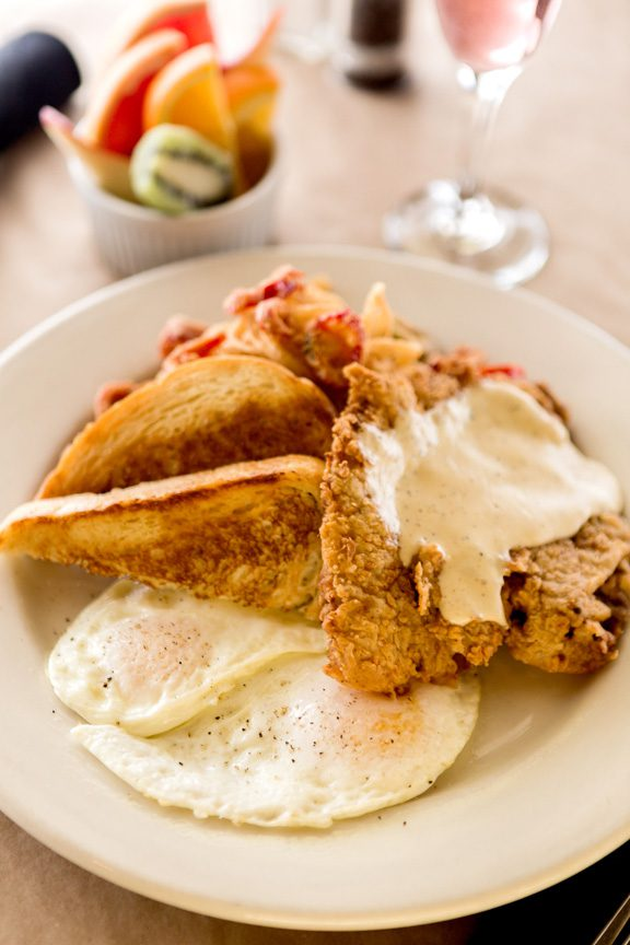 Chicken fried steak and eggs at Lucky's Restaurant. Photo by Chris humphrey Photographer.