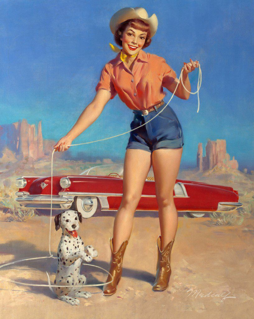 """Cowgirl and Her Star Puppy by William Medcalf (1920-2005) Oil on canvas, 36"""" x 29"""" circa 1952. The Seligman Family Foundation Photo courtesy National Cowboy Heritage Museum.jpg) Photo courtesy the National Cowboy & Western Heritage Museum."""