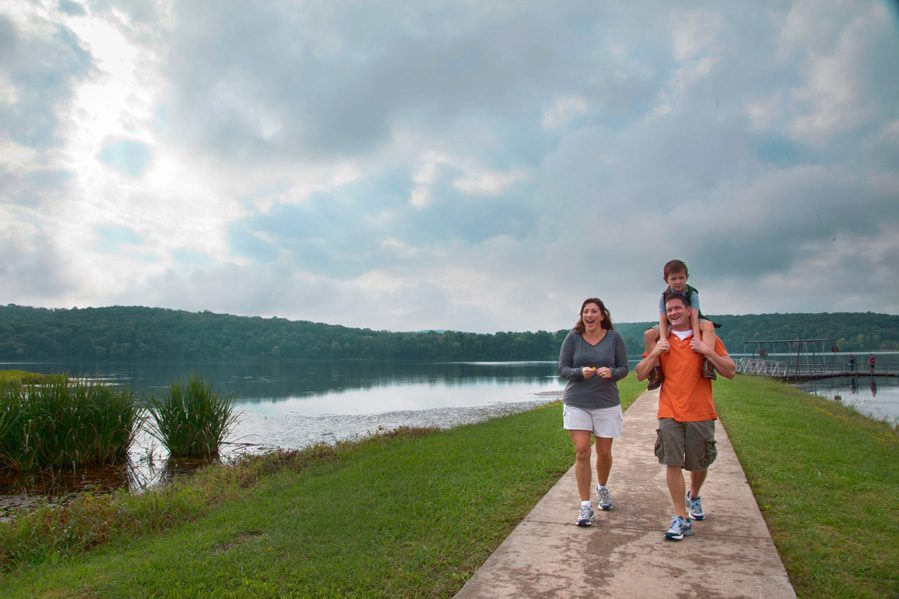 Families can enjoy the paved and ADA-accessible family fun trail at Greenleaf State Park. Photo courtesy Oklahoma Department of Tourism and Recreation.