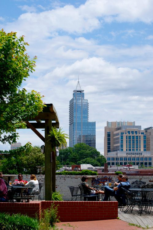 The best view of Raleigh's skyline can be seen from the patio at Boylan Bridge brewpub.