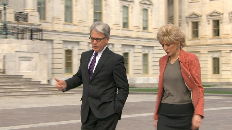 Coburn talks with Lesley Stahl on 60 minutes in December 2014. Photo Courtesy CBS.