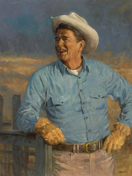 """""""Reagan"""" by artist Andy Thomas, 2008, oil on linen. Courtesy Gilcrease Museum."""