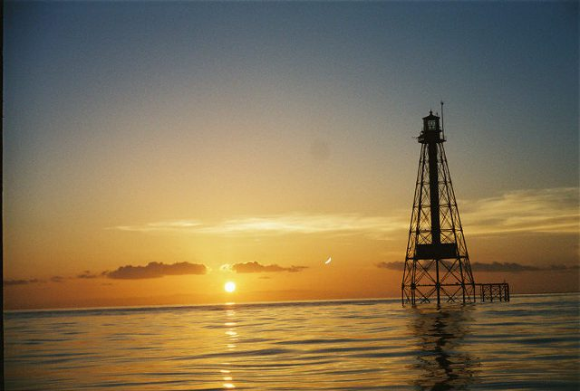 The Sombrero Lighthouse marks the spot of a mostly submerged reef about five miles off Marathon's coast.