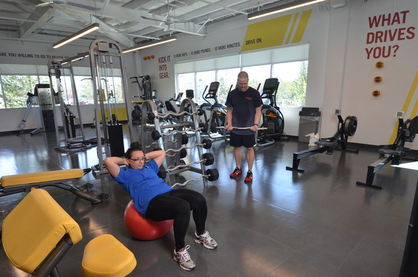 Employees take advantage of the company's in-house gym.