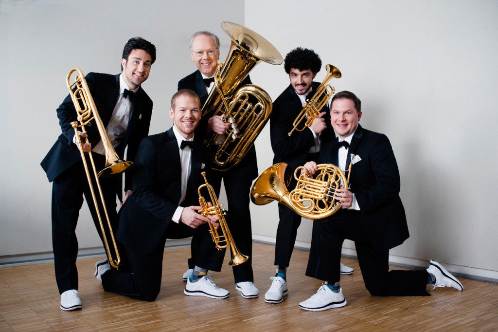 Canadian Brass, one of the festival's featured artists, is known for its unique style that pairs suits with sneakers. Photo courtesy OK Mozart.