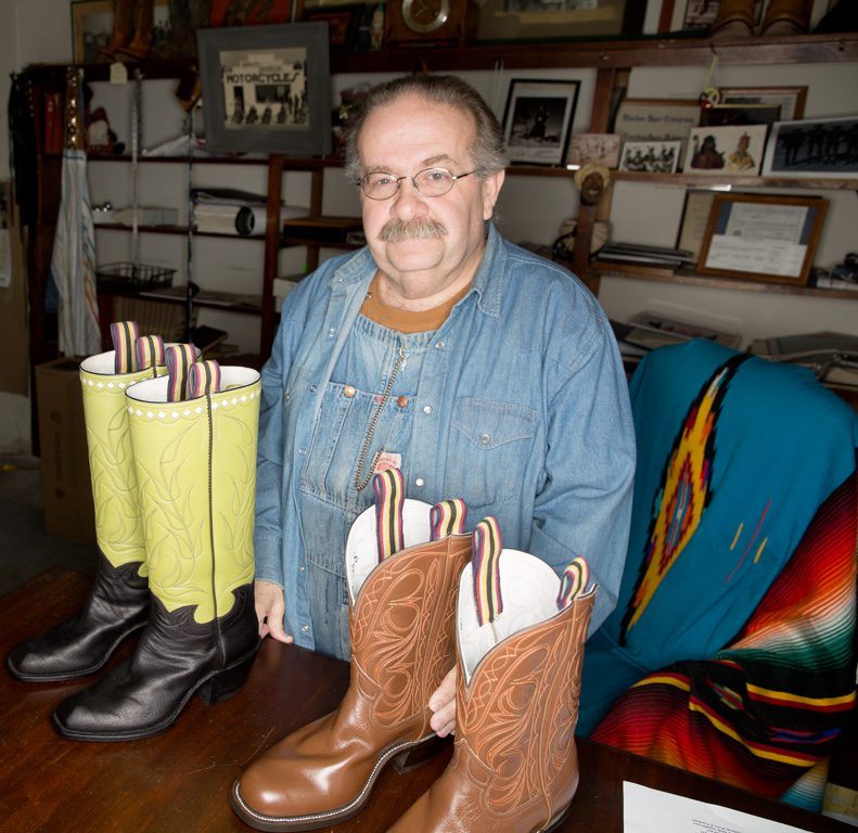 """James """"Smitty"""" Smith owns and operates Blucher Boots, the oldest bootmaking company in Oklahoma, located in Beggs. Photos by Brandon Scott."""