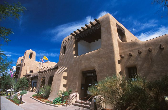 The New Mexico Museum of Art in Santa Fe was built in 1917, but its design was based on 300-year-old architecture.  Photo by Chris Corrie.