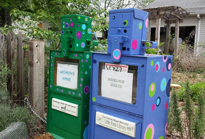 Nipper's Little Free Library is located on the curb of her west Tulsa property. Photo courtesy Clara Nipper.