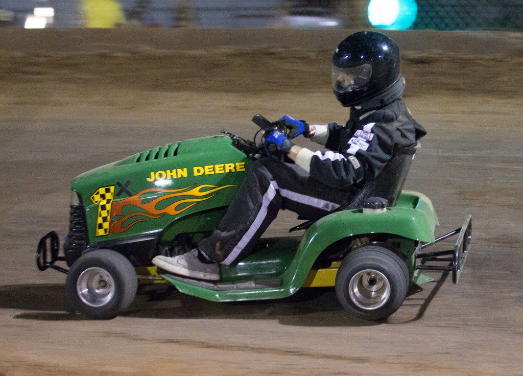 Souped-up lawn mowers race bimonthly at El Reno's Grascar races. Photo by Brent Fuchs.