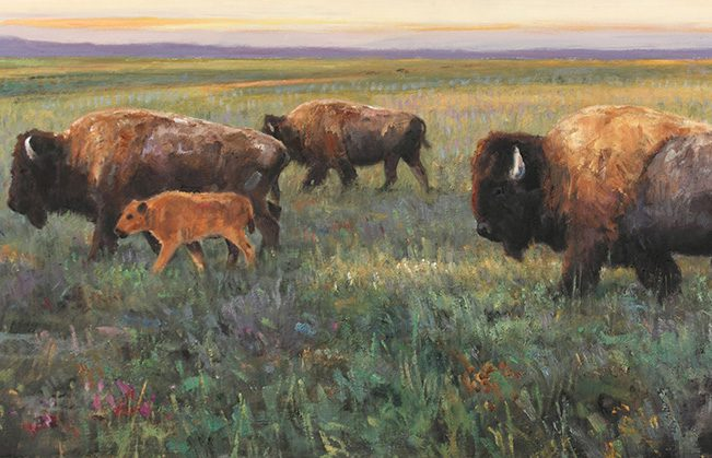 """Ken Carlson Following the Sun 13"""" x 30"""", Oil on board Photo courtesy National Cowboy and Western Heritage Museum."""
