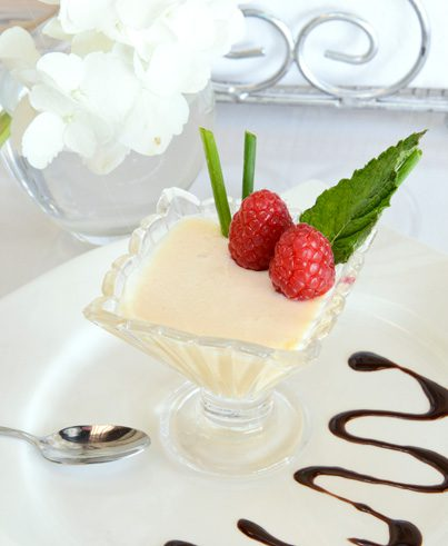 The Passion Fruit mousse is a sweet and creamy treat.