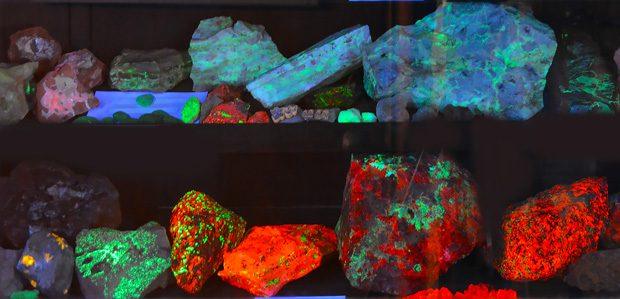 Portions of the rock collection found in the Midgley Museum light up under a black light. Photo courtesy Visit Enid.