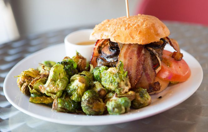 The Heavenly Burger is served with a side of Brussels sprouts at Urban WineWorks.