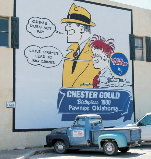 A Mural of a Dick Tracy Strip splays a wall on sixth and Harrison Streets in Pawnee's downtown Square.