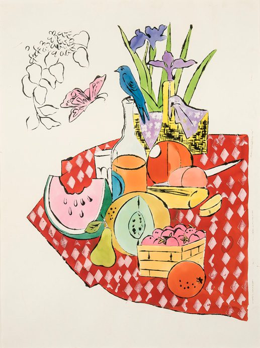 Andy Warhol: The Picnic, 1959-1960, Ink, watercolor and gouache on paper, 28 1/2 by 22 1/2 inches.                                                                                         Collection Donald Rosenfeld, St. Louis, Missouri, © 2015 The Andy Warhol Foundation for the Visual Arts, Inc. / Artists Rights Society (ARS), New York; Photo © Eric W. Baumgartner Photography. Photos courtesy Crystal Bridges Museum of American art.