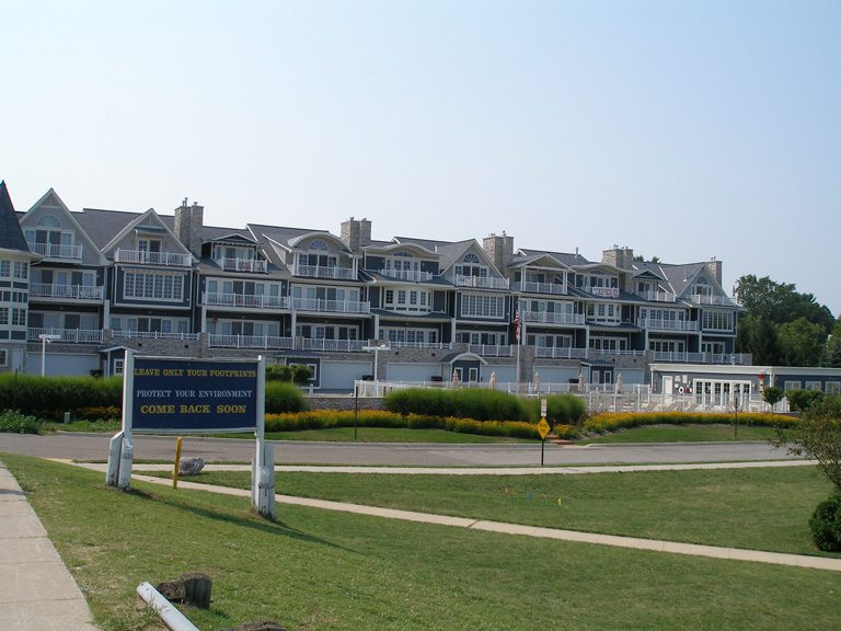 Condos line the shores of Lake Michigan and the Galien River in New Buffalo.