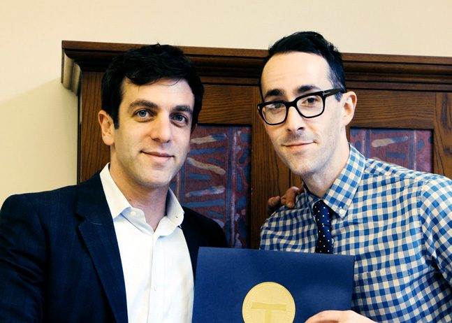 Jeff Martin (right) stands with writer, director, actor and comedian B.J. Novak at a 2014 Booksmart Tulsa event. Photo courtesy Booksmart Tulsa.