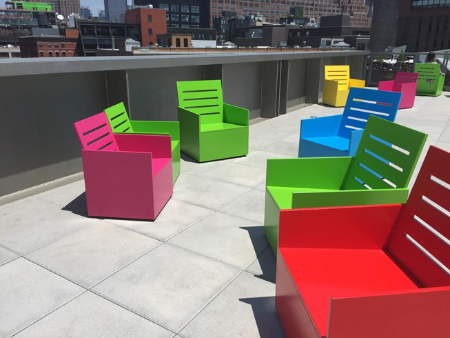 Mary Heilmann's Sunset was a site-specific installation that inaugurated Whitney's largest outdoor gallery, Which was on display through Sept 27.