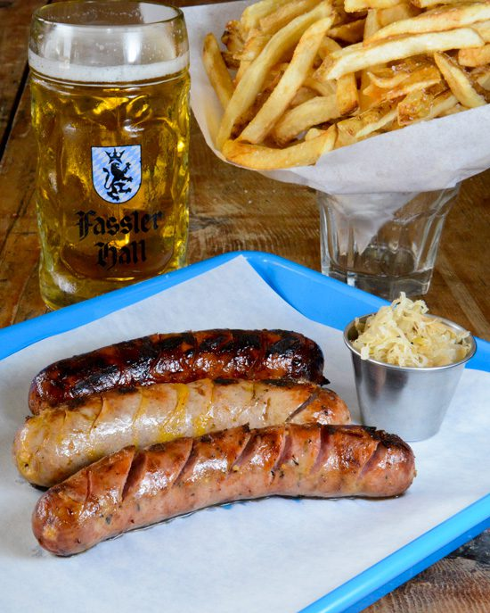 A variety of sausages at Fassler Hall. Photo by Natalie Green.
