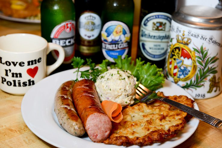The Oktoberfest Delight: two sausages served with potato salad and a crispy potato pancake. Photo by Natalie Green.