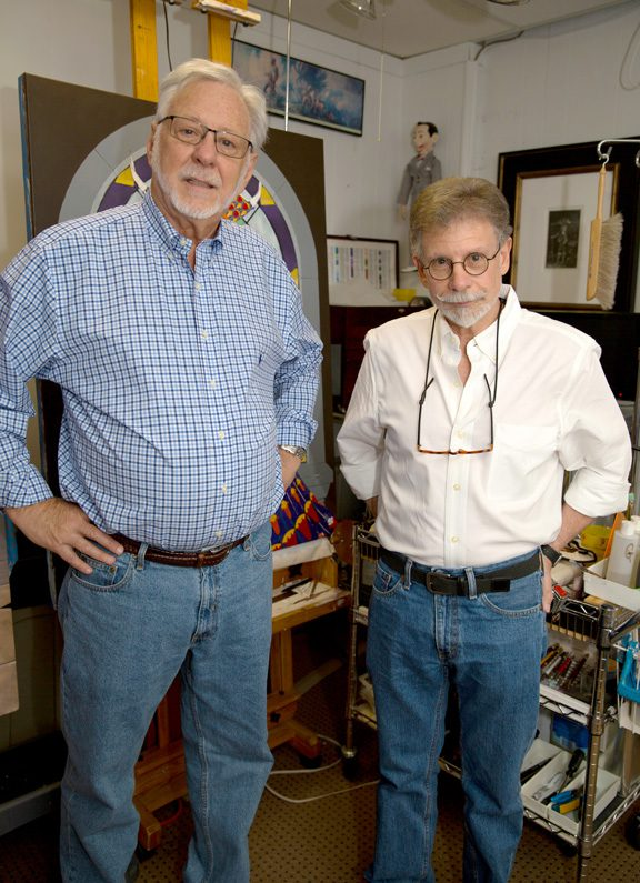Artists Jim Terrell and Steven Rosser share studio space in midtown Tulsa. The two began their 40-year collaborative relationship as teacher and student. Photo by Brandon Scott.