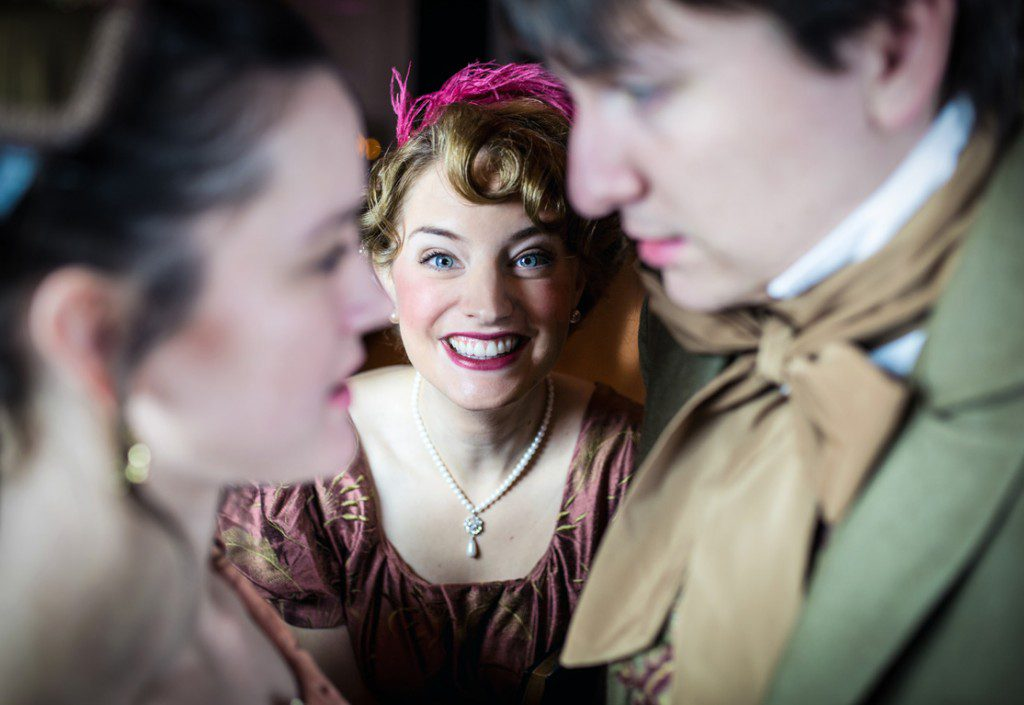Claudia Fain-Ward as Jane Austen with Caroline Grace Lewis and Nicholas Toscani. Photo by David Bricquet Photography for Reduxion Theatre Company.