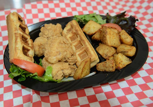 The chicken and waffles are a favorite on Wednesdays at the BA Curbside Café. Photo by Natalie Green.