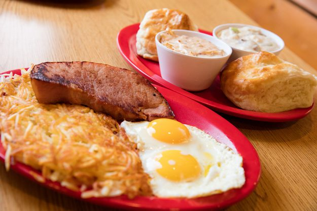 Traditional breakfast served with unique gravy flavors. Photo by Brent Fuchs.