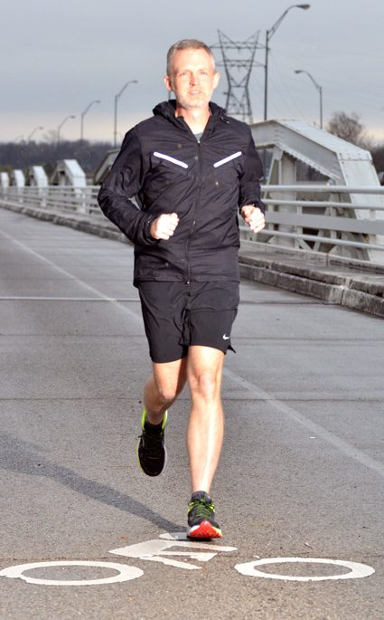 Tulsa runner and heart attack survivor Doug May trains for the 2016 Houston Marathon.Photo by Dan Morgan.