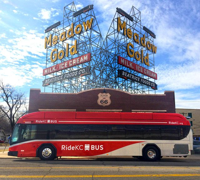 Tulsa brought in a bus used in Kansas City's bus rapid transit system recently. the system is designed to provide high-quality mass transit with stations upgraded to run more like train stations. Photo courtesy Tulsa Transit.